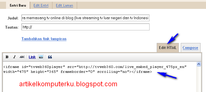 memasang tv online di blog