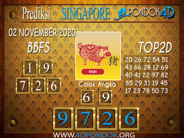 Prediksi Togel SINGAPORE PONDOK4D 02 NOVEMBER 2020