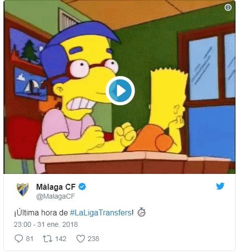 El Málaga utiliza un GIF en la última hora de mercado