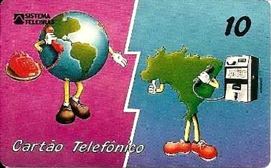 Cartão telefônico - Telebrás - Brasil falando com o Mundo