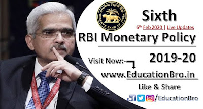 RBI has announced Sixth Bi-Monthly Monetary Policy Statement 2019-20 Point-to-Point Details