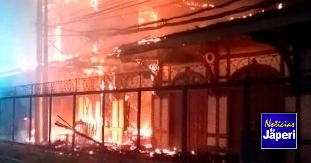 Incêndio destrói estação de trem em Japeri