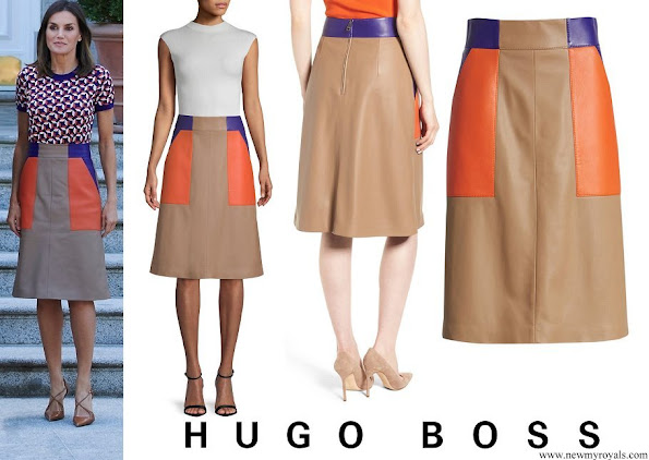 Queen Letizia wore Hugo Boss Seplea Colorblock Leather Skirt
