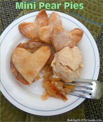 Pear Mini Pies, individual sized desserts perfect for tailgating, holidays, or any celebration. | Recipe developed by www.BakingInATornado.com | #recipe #dessert