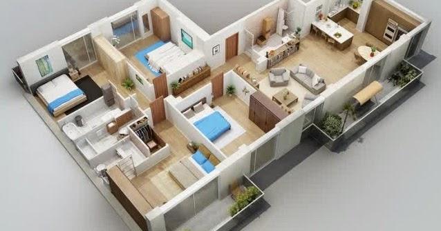 3 Model  Denah Rumah  Leter  L  Sederhana