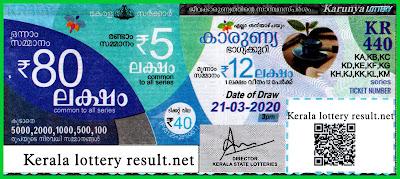 Kerala Lottery Result 21-03-2020 Karunya KR-440 Lottery Result