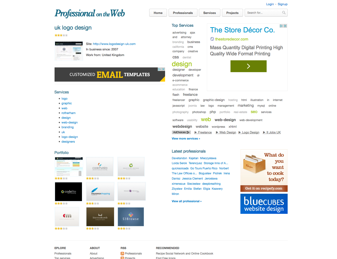 Professional on the Web - Free Designers Gallery