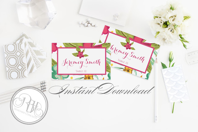 tropical watercolour place cards pink hibiscus-island wedding-by rbh designer concepts
