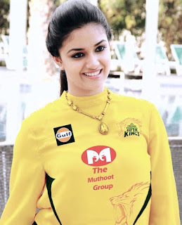 Keerthy Suresh in Yellow Dress for CSK IPL 2018