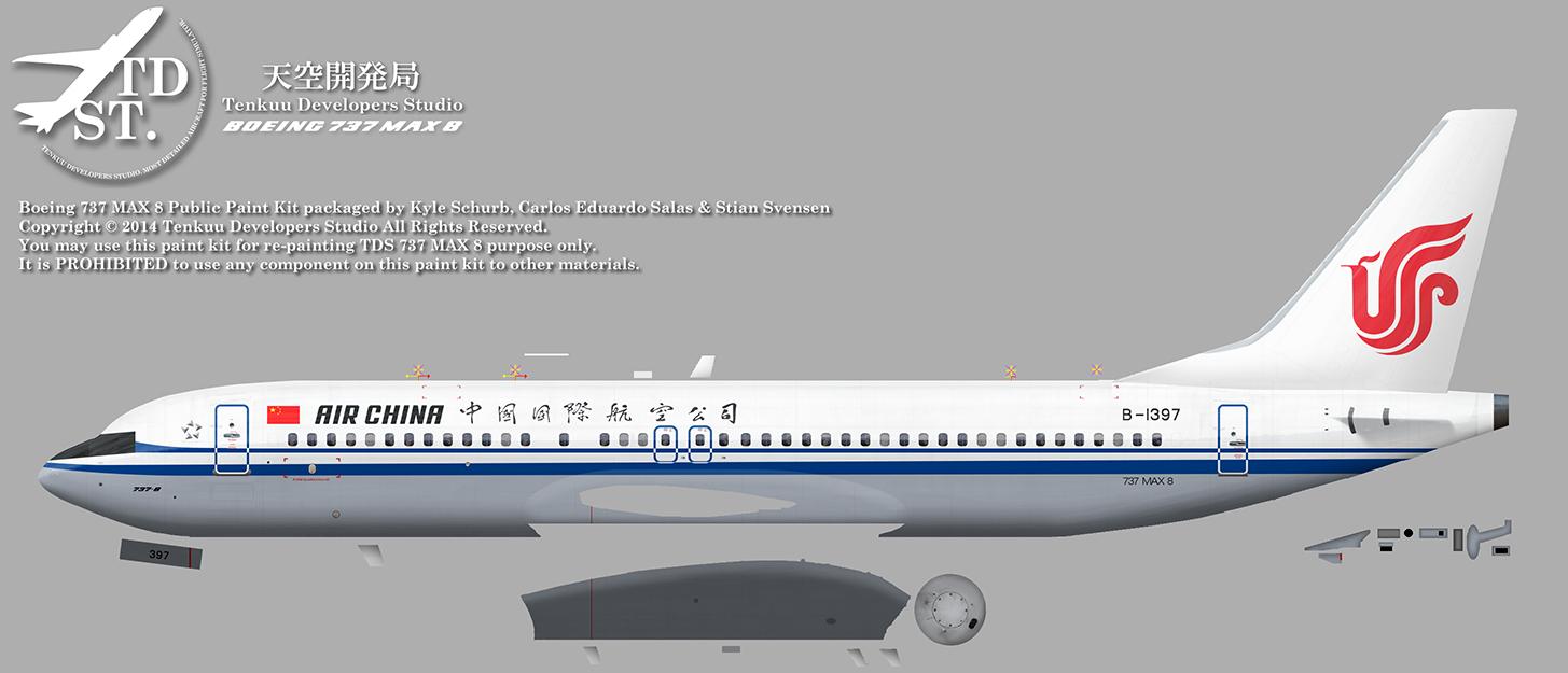 FSRepainter: TDS 737-8 MAX Air China B-1397