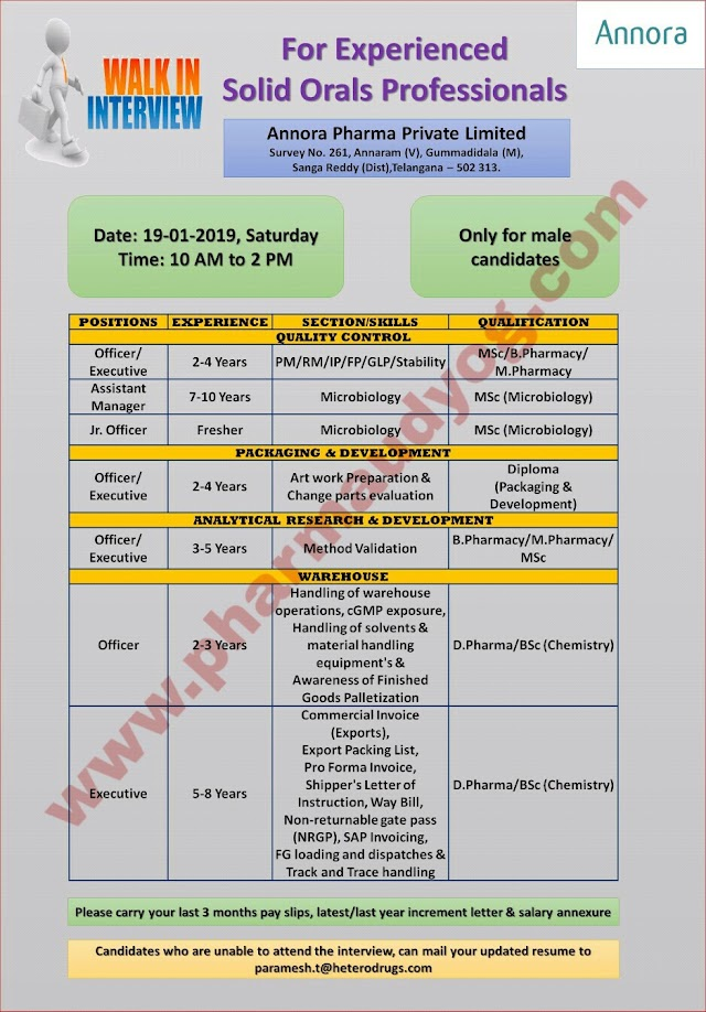 Annora Pharma | Walk-In for Solid Orals Professionals | 19th Jan 2019 | Hyderabad