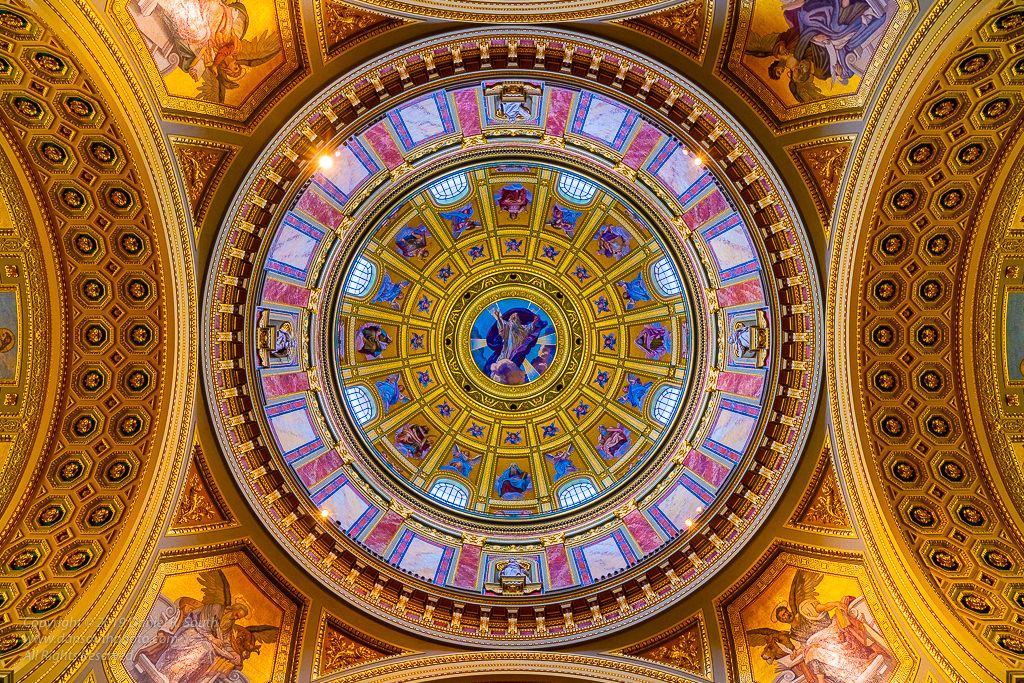 a photo of the dome at saint st stephen's basilica budapest hungary