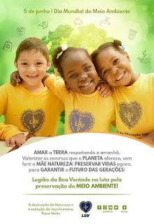 Crianças da LBV são sensibilizadas a prática dos cuidados com o Meio Ambiente