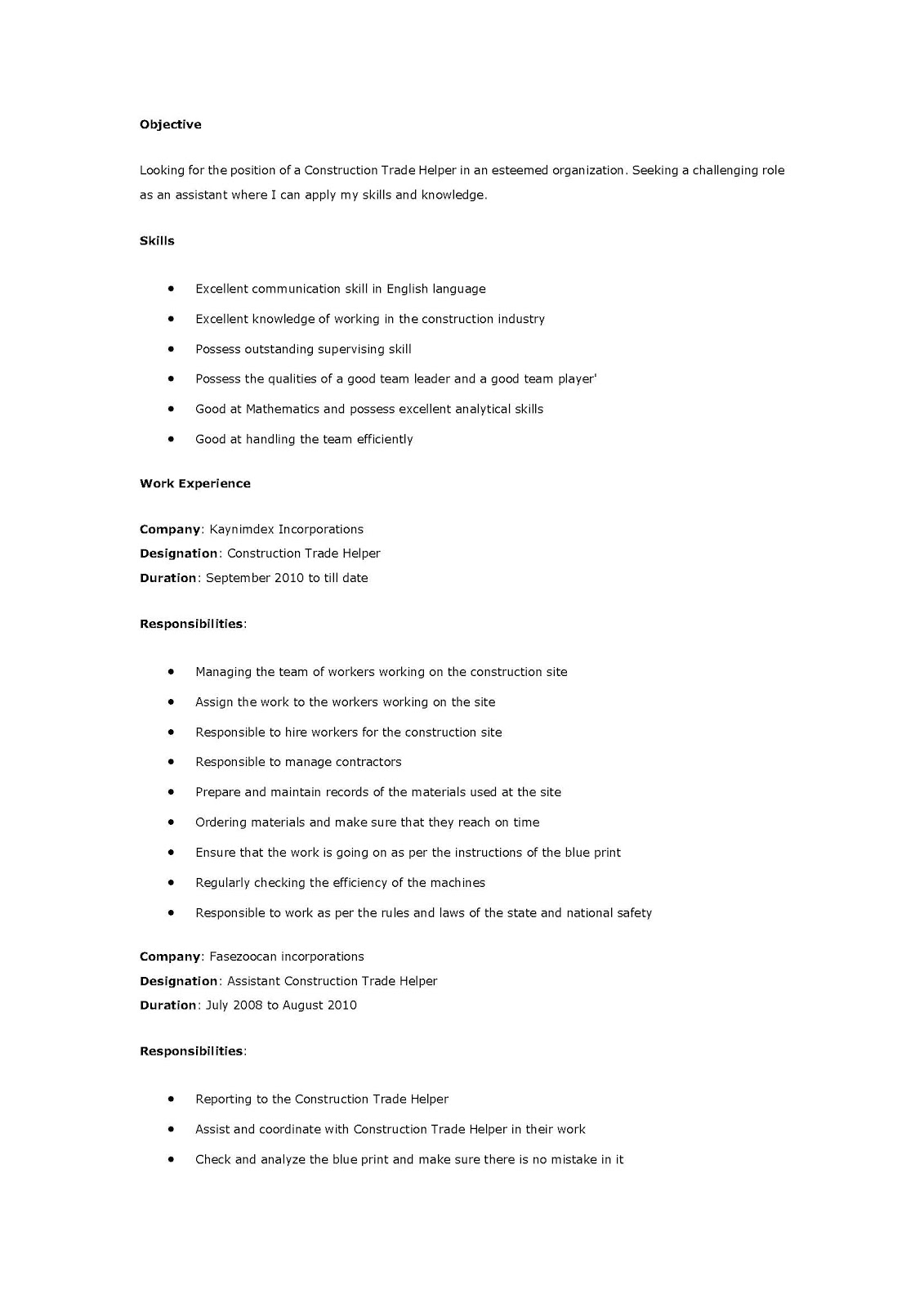 Electrician Resume Example Sample Resume For Mechanical