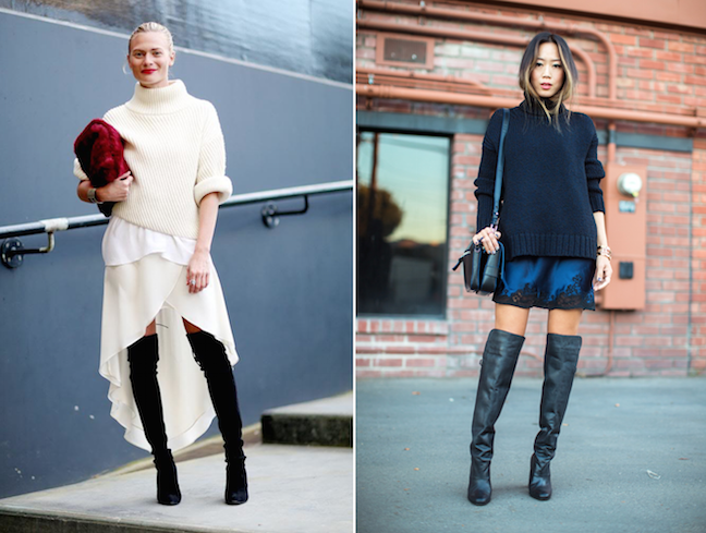 Turtleneck sweater over slip dress - street style