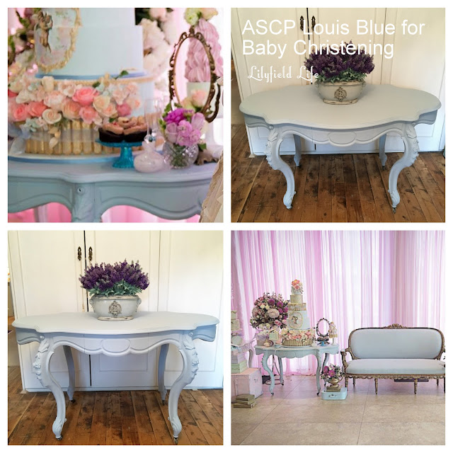 Antique French Hall Table in ASCP Louis Blue