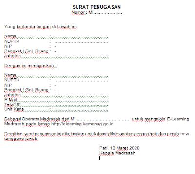 Format Surat Tugas Operator E-Learning Madrasah