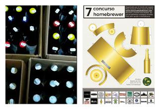 Cervezas caseras y el cartel del Concurso Homebrewer