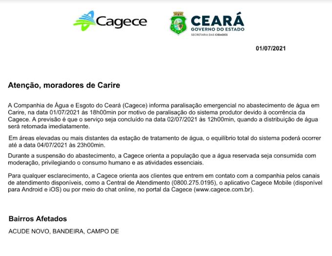 Comunicado da Cagece aos moradores de Cariré-CE