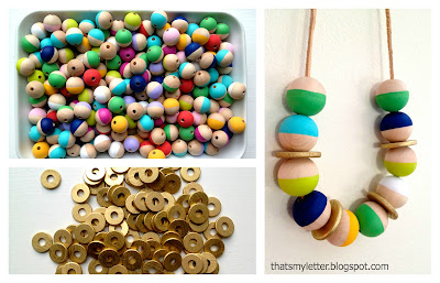 painted wood beads for necklace