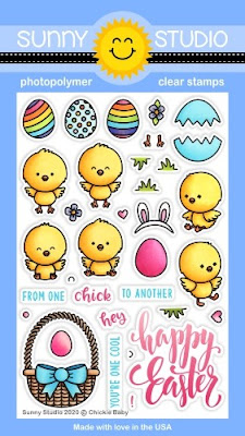 Sunny Studio Stamps: Chickie Baby Easter Chick, Eggs & Basket Happy Easter 4x6 Clear Photopolymer Stamp Set