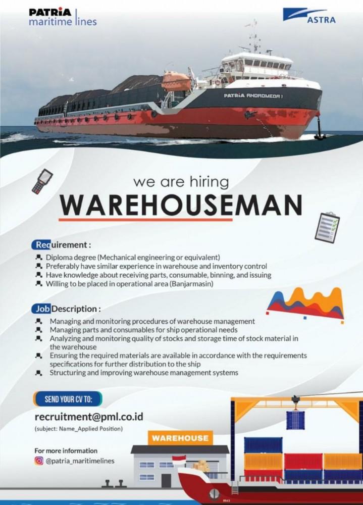 Lowongan Kerja PATRIA Maritime Lines Tingkat D3 Bulan Oktober 2020