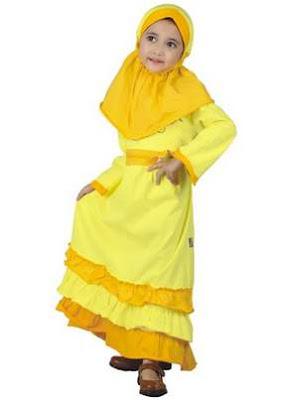 Baju anak perempuan muslim trendy dengan warna soft
