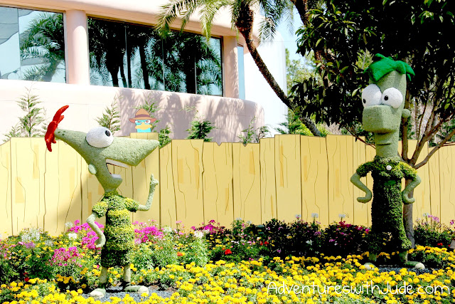 Disney Epcot Flower and Garden show phineas and ferb topiary
