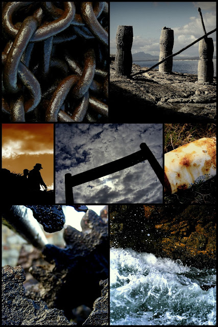 collage chains end world pillars bones ocean dusk