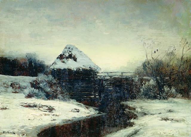 Исаак Ильич Левитан - Зимний пейзаж с мельницей. 1884