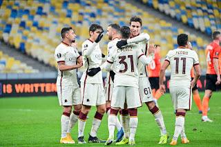ملخص واهداف مباراة روما وشاختار (2-1) الدوري الاوروبي