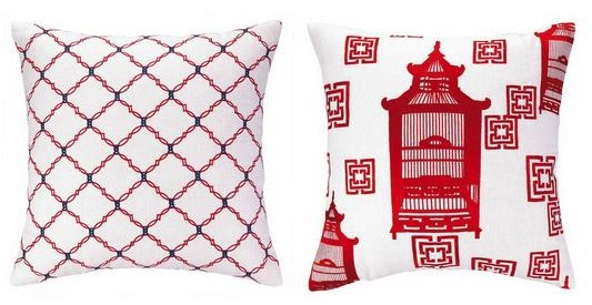 COCOCOZY Peking Handicraft embroidered red pillows