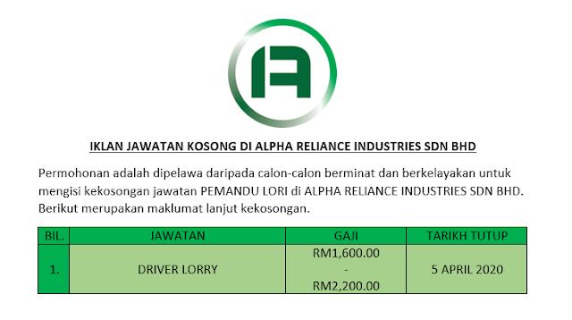 Iklan Jawatan Kosong Di Alpha Reliance Industries Sdn Bhd