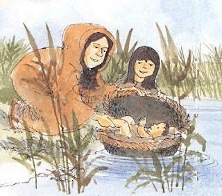 Il piccolo Mosè viene adagiato nel fiume