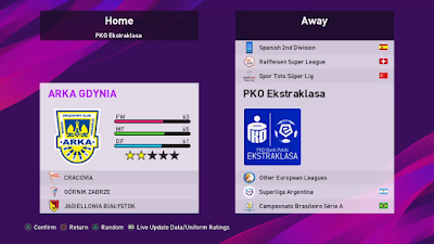 eFootball PES 2020 PS4 Option File Ekstraklasa League