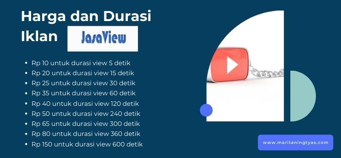 biaya dan durasi iklan jasaview.com