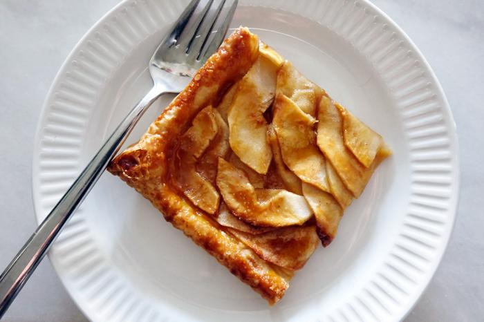 plated slice of apple mosaic tart