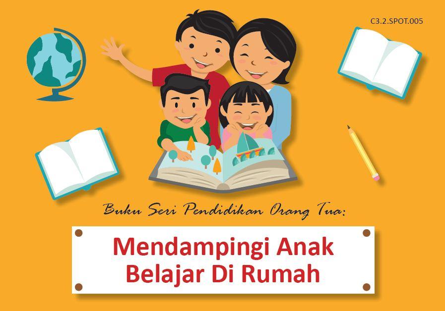 ilustrasi orangtua mendampingi anak belajar di rumah