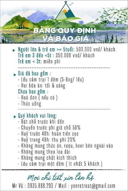 Giá vé yên retreat, Gia ve Yen Retreat