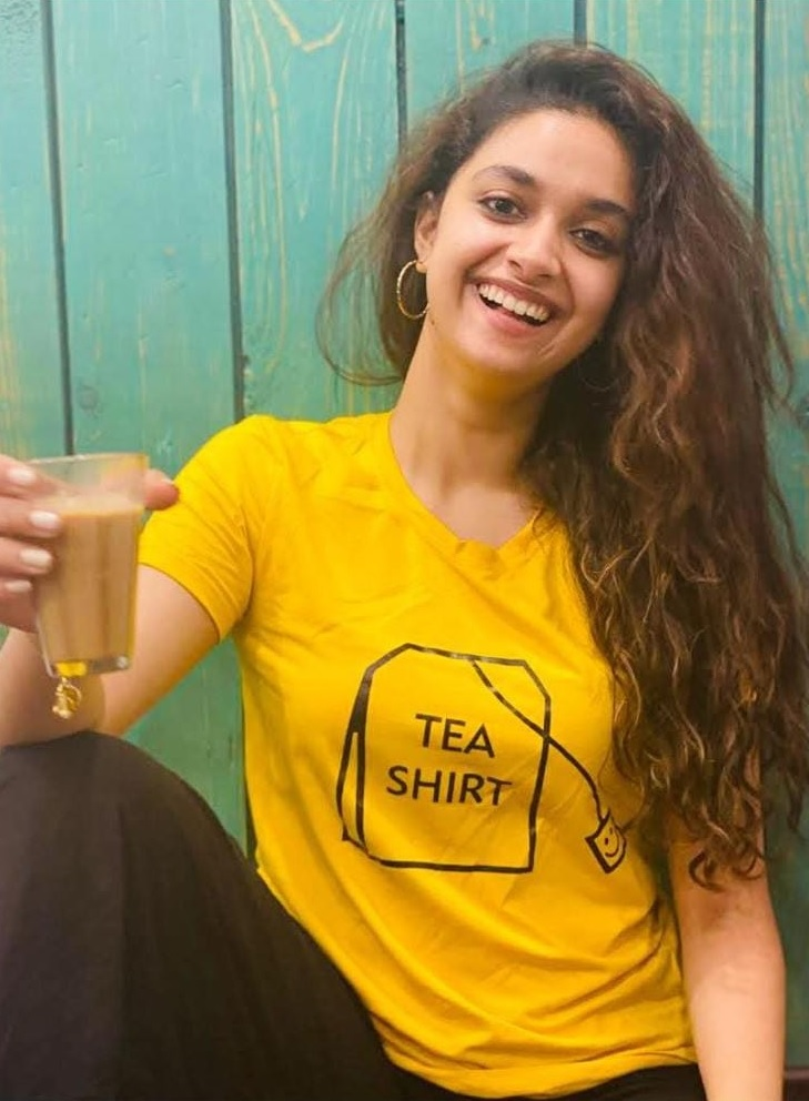 Keerthy Suresh in Yellow and Black with Tea for Miss India Promotions 1