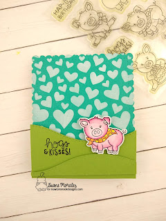Hogs and Kisses a card by Diane Morales | Oink Stamp Set by Newton's Nook Designs