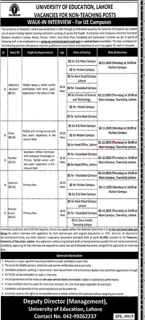 govt jobs 2020 in University of Education Lahore
