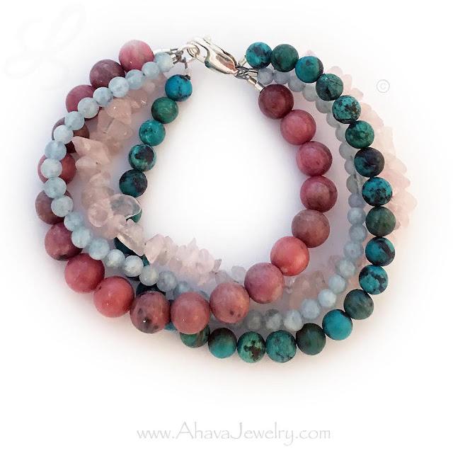 Fertility bracelet - Rhodonite, Rose Quartz, Aquamarine and Turquoise