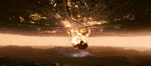 An alien destroyer meets its demise in INDEPENDENCE DAY.