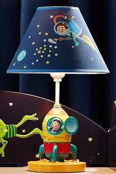 Outer Space Table Lamp space bedroom decor  Outer space decor - space themed kids rooms - planets decor - astronaut wall murals  - outer space bedding - galaxy themed room decor - space themed bedding - planet wall decals - sci fi themed bedroom robots rockets monsters aliens - Star Wars Bedrooms -