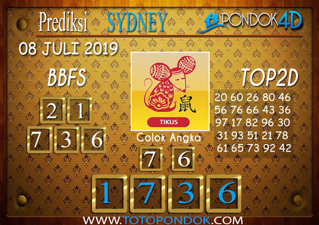 Prediksi Togel SYDNEY PONDOK4D 08 JULI 2019