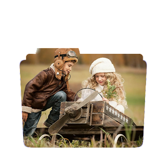 Preview of Cute child couple, aeroplane, playing, wallpaper folder icon