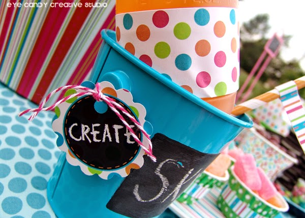 chalkboard tags, chalkboard pails, art party favors, create