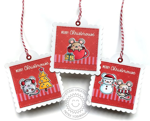 Sunny Studio Stamps: Merry Mice Christmas Mouse Holiday Gift Tags (using Very Merry 6x6 Paper & Scalloped Square Tag Dies)