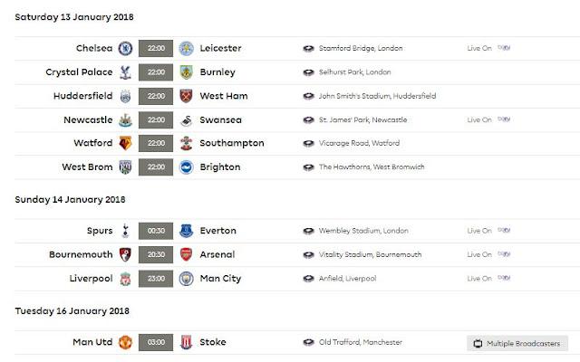 Jadwal Siaran Langsung Liga Inggris Pekan 23